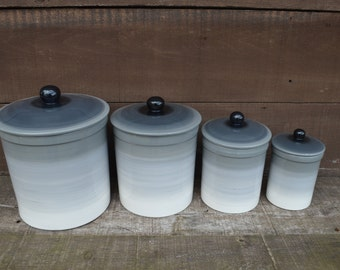 One of a Kind Set of 4 Gray Ombre Ceramic Canister Set with Rubber Seals - Bright Colorful Gradient Design - Shades of Gray White Black