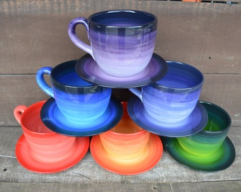 Purple Ombre Soup Mug with Matching Saucer Plate - 30 oz. - Extra Large Mug and Dish Set - Shades of Purple