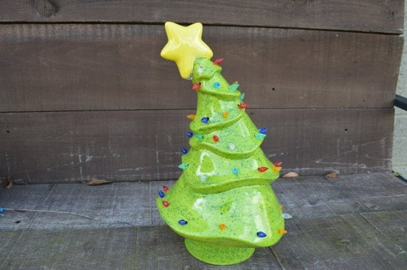 Whimsical Ceramic Christmas Tree With Lights Handpainted In