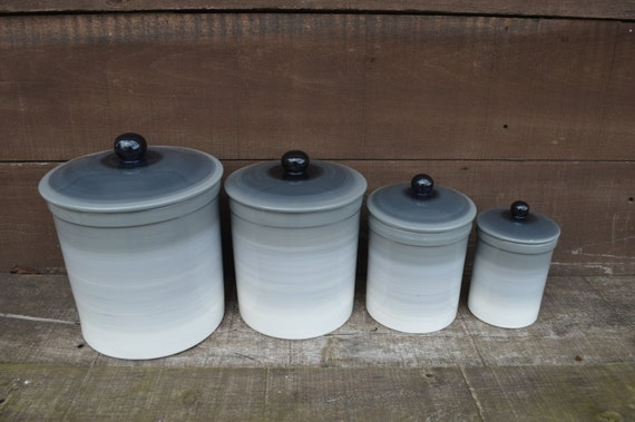 One Of A Kind Set Of 4 Gray Ombre Ceramic Canister Set With