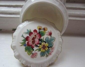 Vintage Coalport Bone China Flowered Jewelry Box