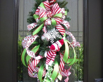 Sock Monkey Christmas Wreath, Christmas Swag, Christmas Wreaths and Swags, Sock Monkey Christmas Decor