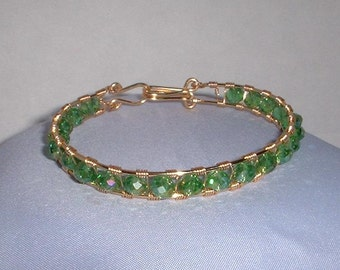 Green and Gold Wired Bracelet