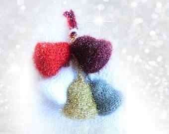 Crochet Christmas Bells, Crochet Christmas Three Ornaments, Set of Fife Christmas Festive Bells, Sparkle Christmas Tree Decoration