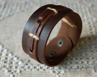Natural Leather Wide Bracelet Brown Leather Women Leather Bracelet, Men Leather Cuff Bracelet ,Unisex Bracelet