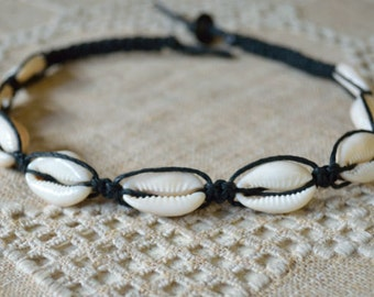 Black Hemp Necklace with Cowrie Shells Beach Jewelry Vacation Everyday Choker