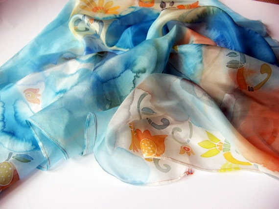 "hand-painted silk scarf ""rainbow meadow"" -made TO ORDER"