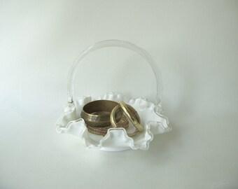 Vintage Milk Glass Basket, Silvercrest, dish