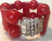 Lipstick Red Bakelite Bracelet Necklace Set Rhinestones –Repurposed 1940s Jewelry