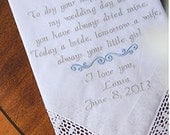 Mother of the Bride, MOM GIFT, Embroidered Wedding Handkerchief, by Canyon Embroidery