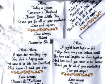 Wedding Gift, Embroidered Wedding Hankerchiefs, Gifts for Parents, Wedding Gifts for In-Laws, Mom & Dad Gift, Set of 4 By Canyon Embroidery