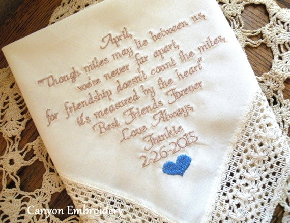 Wedding Gift For Bride From Best Friend : , Wedding Gift, Embroidered Wedding Hankerchief, Best Friend Wedding ...