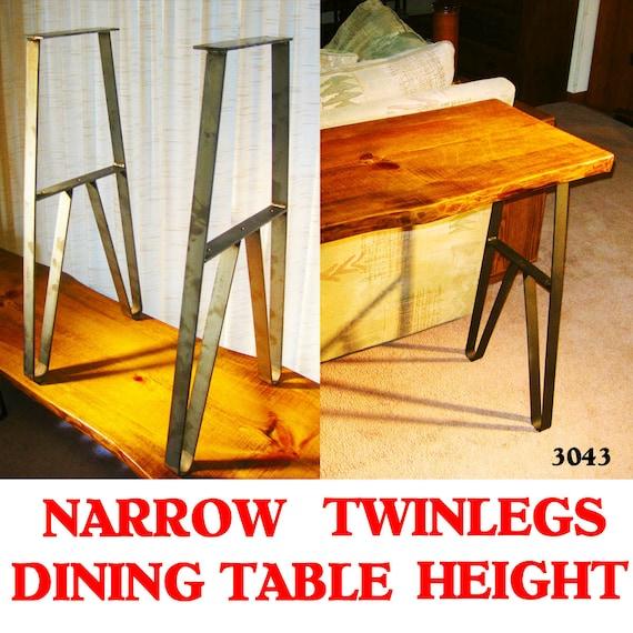 Narrow Table Metal Twin Legs, 27.75 High, 8 Inch Long Top