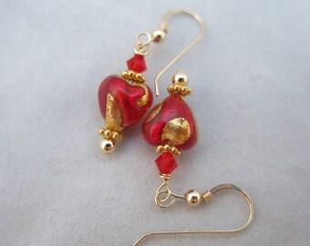 Venetian Glass Red Heart Earrings 14K Gold Fill