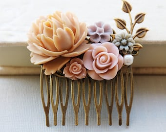 Matte Latte Rose, Dusty Pink, Light Lilac, Grey and Pearl Hair Comb. vintage style hair comb, bridesmaid hair comb, wedding hair accessory