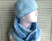 Infinity scarf and hat # 17, hand crochet ... pale blue
