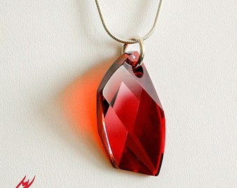 Red Magma Swarovski Crystal Pendant Necklace, Red Cyrstal Pendant in Avant Garde Asymmetric Necklace, Sterling Silver Chain,Valentine's Gift