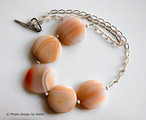 30% OFF SALE-Creme Orange Marbled Agate Sterling Silver Necklace, Mother's day Gift, Summer Fashion, Bridal Wedding Jewelry