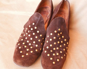 Vintage 70's Brown Suede Loafers with Gold Studs, Size 8, Chunky Low Heels
