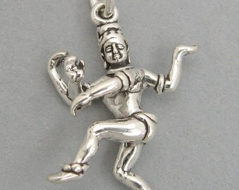 Sterling Silver 925 Charm Pendant 3D DANCING SHIVA Hindu God 2741