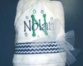 Personalized Hooded Towel for boys Baby Gift with Child's Name Embroidered