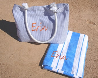 Personalized Beach Bag Tote and Beach Towel for Bridesmaids Gifts