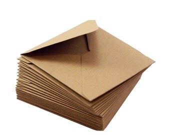 Mini square envelopes - 10 Kraft brown envelopes - 2 3/4 x 2 3/4 - love notes, gift enclosure, packaging