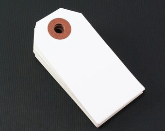 20 LARGE hang tags - WHITE -parcel tags, gift tags 3 3/4 x 1 7/8