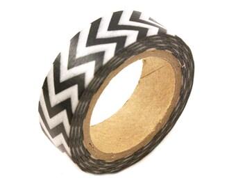 Washi tape Black CHEVRON masking tape -11 Yards