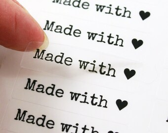 80 MADE WITH LOVE stickers with Heart - Made with Love Clear Labels in Typewriter Font - 1/2 x 1 3/4 inch with love stickers