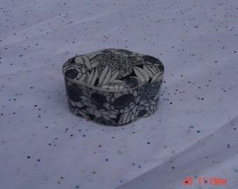 Vintage Black and White Decorated Bone China Box - Royal Crown
