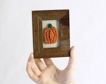 Ready to Ship! 3D Halloween Pumpkin in a Mini Frame. Halloween Folk Art. Embroidery Fiber Art. Home, Kitchen Decor. Orange, Brown.