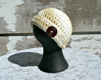 Baby Beanie, Crocheted, NB to 3 Months Size, Tan and Cream Color With Large Brown Wooden Button