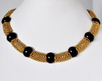 Vintage Trifari Gold and Black Necklace