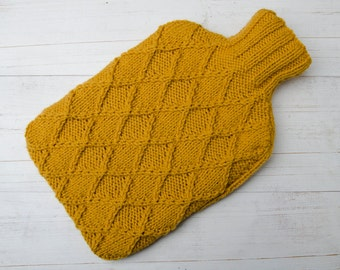 Hot water bottle Cover Knitted in Yellow Diamonds Textured pattern