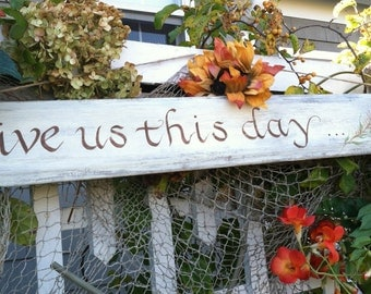 Hand Painted Rustic Wood Thankful Sign, Spring Garden Wall Decor,Easter Holiday Decoration,  Home Decor, Give Us This Day