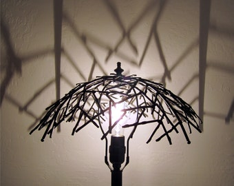 Industrial -Steampunk Black Table Lamp w/ Repurposed Wire Bowl /Goth/Steampunk/Industrial OOAK