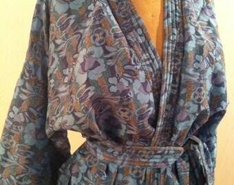 Turquoise Blue Vintage WILLIAM MORRIS Style Deco Print Silk Short Robe
