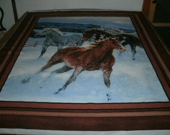 Horses Running in a Snow Covered Paddock Wall Hanging Fabric Panel