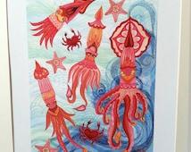 Squid print, Squid art, under the sea print