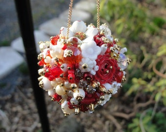 Ornament Red Gold White Art Piece OOAK Vintage Jewelry Assemblage