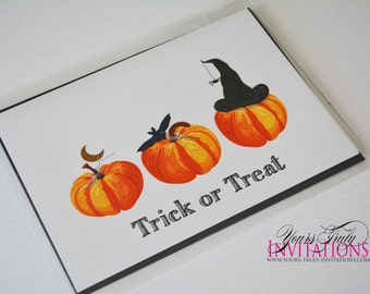 Trick or Treat Halloween Pumpkin Greeting Card