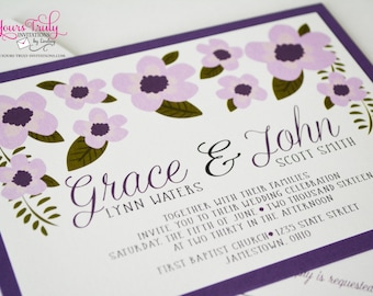 Sample - Grace Flowers Affordable Wedding or Party Invitation shown in Deep shimmer purple or custom in your colors