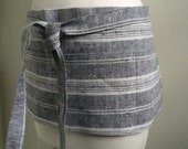 LAST APRON  Half Apron Woman Short Linen  apron  Black  Stripe linen Lithuanian Linen  custom made work apron