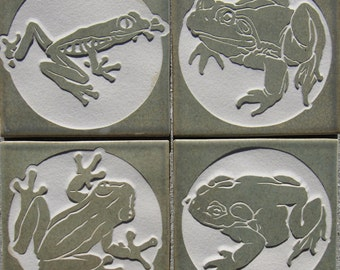 Frog & Toad Tile Set - 4x4 Etched Porcelain Tiles - SRA