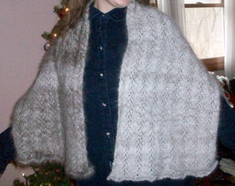 Feather Lace Angora Shawl