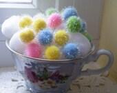 75% of this item, enter LOVE2016 at checkout. Pastel Pom Poms, Pom Poms, Pom Pom Remnants, Easter Basket Filler, Filler, Yellow, Pink, Green