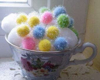 50% off this item, enter LOVE99 at checkout, Pastel Pom Poms, Pom Poms, Pom Pom Remnants, Easter Basket Filler, Filler, Yellow, Pink, Green