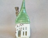 Special Order for Meghan - Fairy House with Pink Roof + Xmas Decor - Luminary, Candle Holder  - Holiday Decor -- Handmade on Potters Wheel