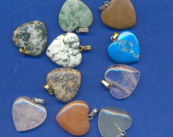 10 assorted gemstone hearts with bails, Lot 111